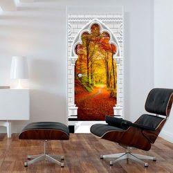 Fototapeta na drzwi - Tapeta na drzwi - Łuk gotycki i las jesienią bogata chata