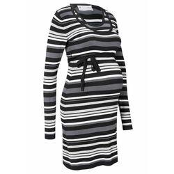 Sukienka dzianinowa ciążowa i do karmienia piersią, z wiązanym paskiem bonprix szary w paski