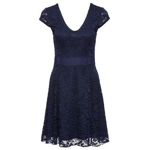 Suknie i sukienki, Sukienka z dżerseju z koronką bonprix ciemnoniebieski