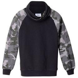 Bluza chłopięca z modnym kołnierzem bonprix czarny wzorzysty