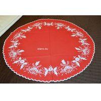 Obrusy, Haft kujawski - obrus ręcznie haftowany, czerwony śred. 68 cm (kz-3)