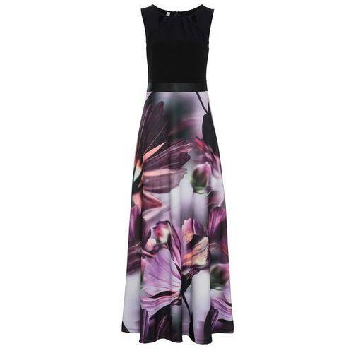 Suknie i sukienki, Sukienka w kwiaty bonprix czarno-lila w kwiaty