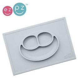 EZPZ - Silikonowy talerzyk z podkładką 2w1 Happy Mat - pastelowa szarość