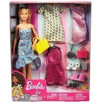 Lalki dla dzieci, Lalka Barbie Fashion Doll + 3 ubranka GDJ40