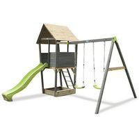 Domki i namioty dla dzieci, Wieża sosnowa EXIT AKSENT z dwiema huśtawkami /szara/