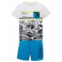 Krótkie spodenki dziecięce, Shirt chłopięcy + krótkie spodnie (2 części) bonprix turkusowo-biały z nadrukiem