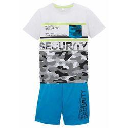 Shirt chłopięcy + krótkie spodnie (2 części) bonprix turkusowo-biały z nadrukiem