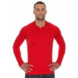 Koszulka męska polo Brubeck Prestige z długim rękawem LS10620 Czerwony