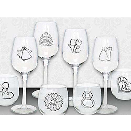 Dekoracje stołu weselnego, Komplet naklejek weselnych na kieliszki i szklanki - 16 szt.