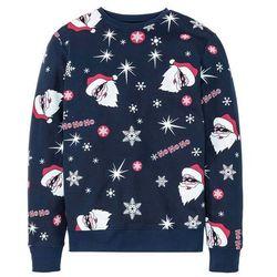 Bluza z bożonarodzeniowym nadrukiem Slim Fit bonprix ciemnoniebieski z nadrukiem