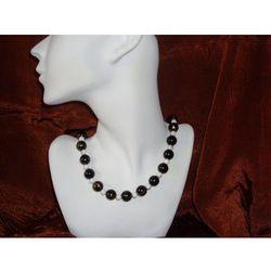 N - 00003 Naszyjnik z czarnych i białych plastikowych koralików promocja!