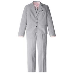 Garnitur + koszula + krawat (4 części) bonprix dymny szary - biały w paski + jasnoróżowy