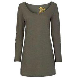 Shirt z długim rękawem bonprix oliwkowy