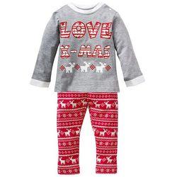 Shirt niemowlęcy + spodnie (2 części) bonprix jasnoszary melanż - czerwony
