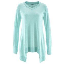 Sweter z dłuższymi bokami, długi rękaw bonprix pastelowy miętowy melanż