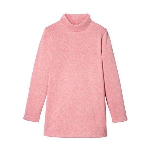 Bluzy dla dzieci, Bluza z polaru z golfem bonprix kremowy jasnoróżowy - biel wełny melanżowy
