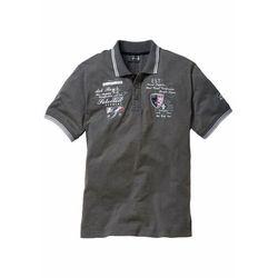 Shirt polo z efektownym zdobieniem bonprix szary