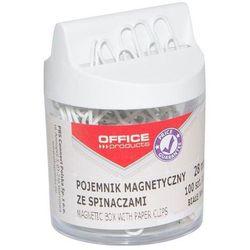 Pojemnik magn. na spinacze OFFICE PRODUCTS, okrągły, ze spinaczami, biały