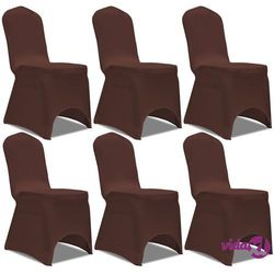 vidaXL Elastyczne pokrowce na krzesło brązowe 6 szt. Darmowa wysyłka i zwroty