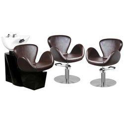 Zestaw Mebli Fryzjerskich - Myjnia Amsterdam + 2 Fotele Amsterdam Brąz