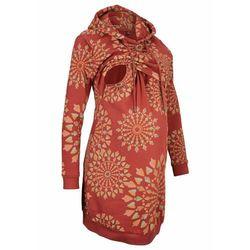 Sukienka ciążowa i do karmienia piersią bonprix czerwony kasztanowy wzorzysty