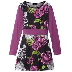 Sukienka shirtowa WOW bonprix fiołkowo-czarny