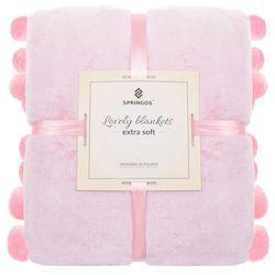 Narzuta na łóżko z dużymi pomponami, pled 200x220 cm dwustronny koc na kanapę różowy