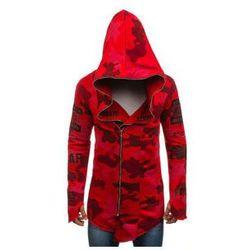 Bluza męska z kapturem z nadrukiem moro-czerwona Denley 0796