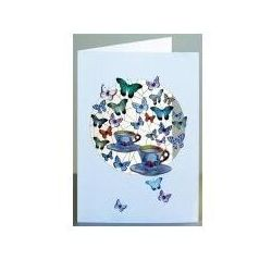 Karnet pm742 wycinany + koperta motyle i filiżanki