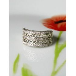 Srebrny pierścionek koszyczek serduszka, rozmiar 18