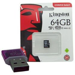 KARTA PAMIĘCI KINGSTON CANVAS SELECT 64GB MICROSDXC CL10 UHS-I CARD + CZYTNIK KART