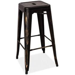 Hoker stołek barowy SIGNAL LONG czarny przecierany LOFT