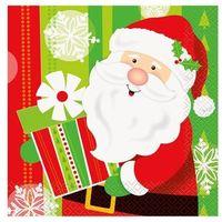 Ozdoby świąteczne, Serwetki na Boże Narodzenie z Mikołajem - 33 cm - 16 szt.