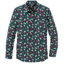 Koszula z długim rękawem i nadrukiem Regular Fit bonprix głęboki zielony z nadrukiem