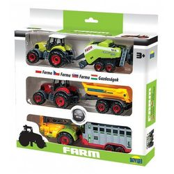 Trzy Traktory z przyczepami w pudełku