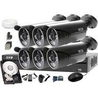 Zestawy monitoringowe, Zestaw do monitoringu z podglądem nocnym: Rejestrator BCS-XVR0801 + 6x BCS-TQE3500IR3-G + Dysk 1TB + Akcesoria