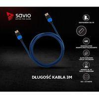 Kable video, Kabel HDMI v2.0 Savio GCL-05 3,0m, dedykowany do Playstation, gamingowy, OFC, 4K, niebiesko-czarny, złote końcówki