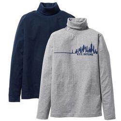 Shirt z golfem (2 części) bonprix ciemnoniebieski + jasnoszary melanż z nadrukiem