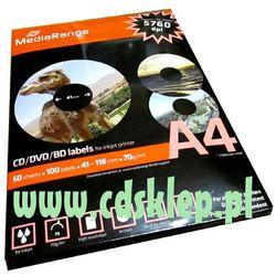 Etykiety na CD/DVD matowe duże oczko 100szt. MRINK131