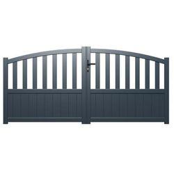 Brama wjazdowa rozwierna LARBEY z aluminium w kolorze antracytowym – 400 × 120/140 cm (szer. × wys.)