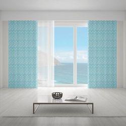 Zasłona okienna na wymiar - WHITE DOTS & BLUE BACKGROUND