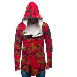 Bluza męska z kapturem z nadrukiem moro-czerwona Denley 0796-1