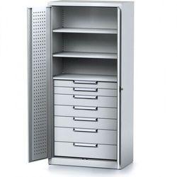 Szafa warsztatowa MECHANIC, 1950 x 920 x 500 mm, 3 półki, 7 szuflad, szare drzwi
