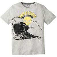 Koszulki z krótkim rękawkiem dziecięce, T-shirt z neonowym nadrukiem bonprix jasnoszary melanż z nadrukiem