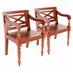 Mahoniowe krzesła na taras Amarillo 2 szt - ciemnobrązowe