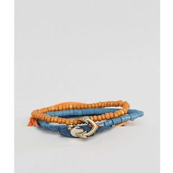 ASOS Leather And Beads Bracelet Pack With Anchor Clasp - Multi
