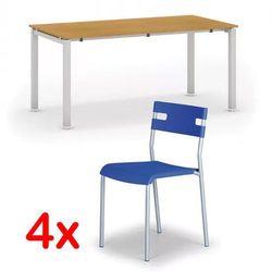 Stół konferencyjny AIR 1600 x 800 mm, buk + 4x krzesło LINDY GRATIS, niebieski