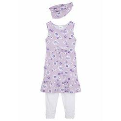 Sukienka dziewczęca + legginsy 3/4 + opaska (3 części) bonprix fiołkowo-biały