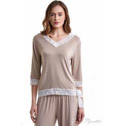 Damska bambusowa piżama ROZALIE XL Beżowy