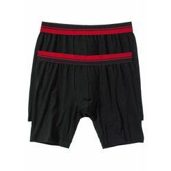Długie bokserki (2 pary) bonprix czarno-ciemnoczerwony